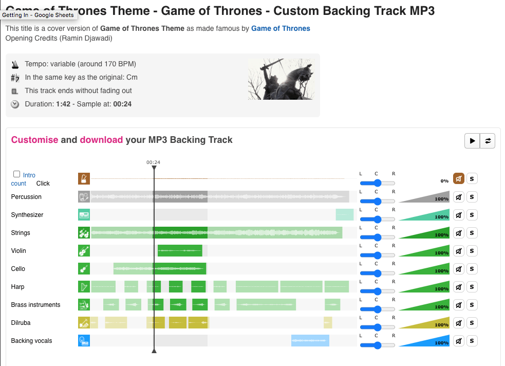 Game of Thrones Guitar Custom Backing Track