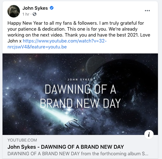 ohn Sykes New Song 2020 Dawning of a Brand New Day Facebook